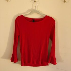 EUC J. Crew rubbed ruffle sleeve top